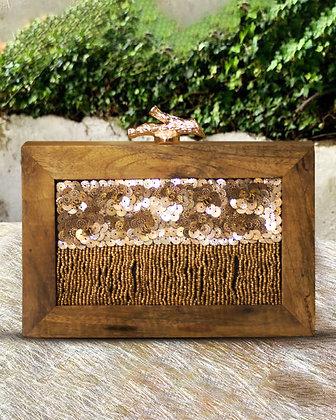 Gold Wanderlust  Wooden Clutch