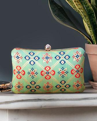 Green Patola Print Cushion Clutch