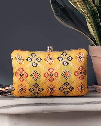 Yellow Patola Print Cushion Clutch