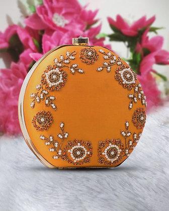 Mustard Gold Round Hand Embroidered Clutch