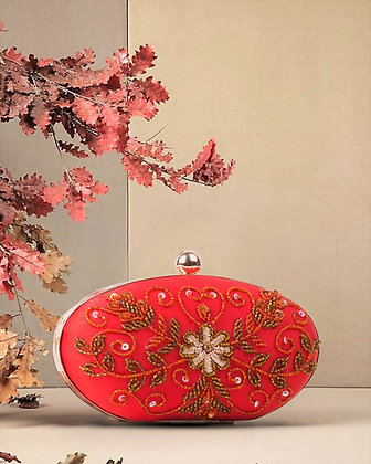 Red Oval Hand Embroidered Clutch