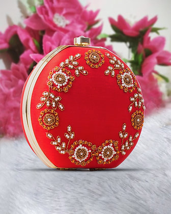 Red Gold Round Hand Embroidered Clutch