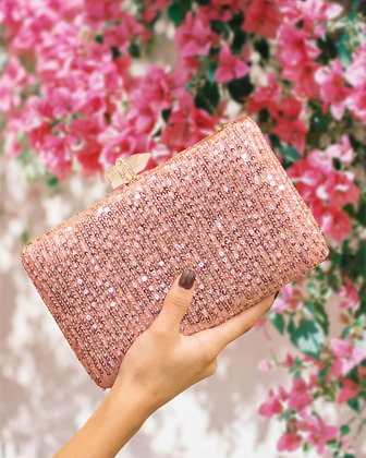 Blush Pink Sequined Seraphina Clutch