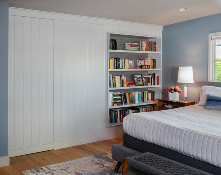 Accent Wall with Shelves and Hidden Storage