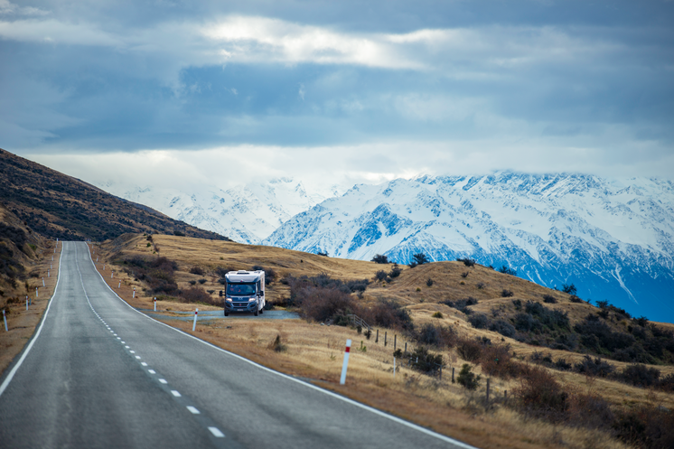 Motorhome on the road to Mount Cook