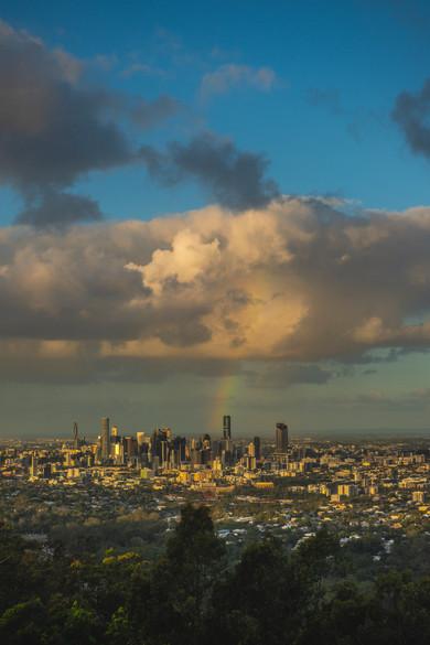 Rainbow over Brisbane CBD