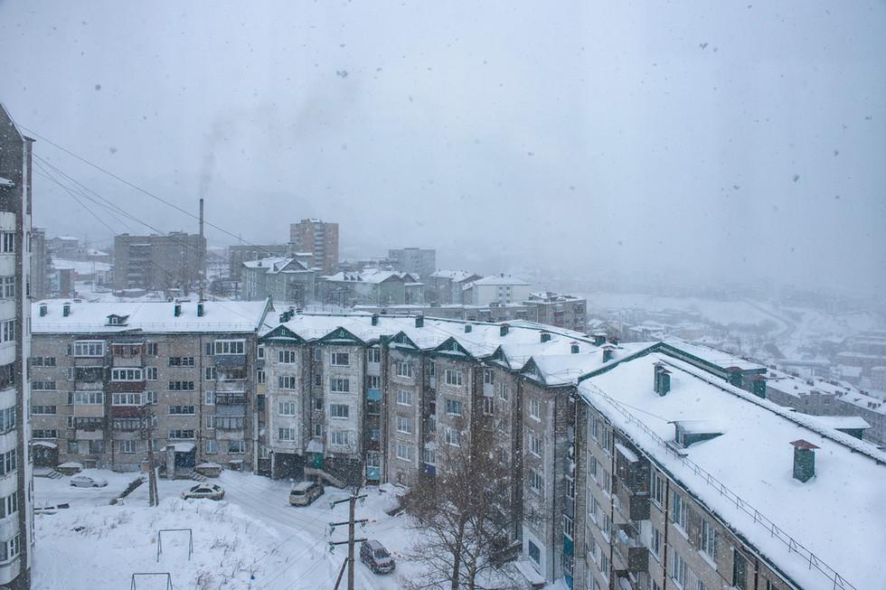 Winter in a Kholmsk Port Town