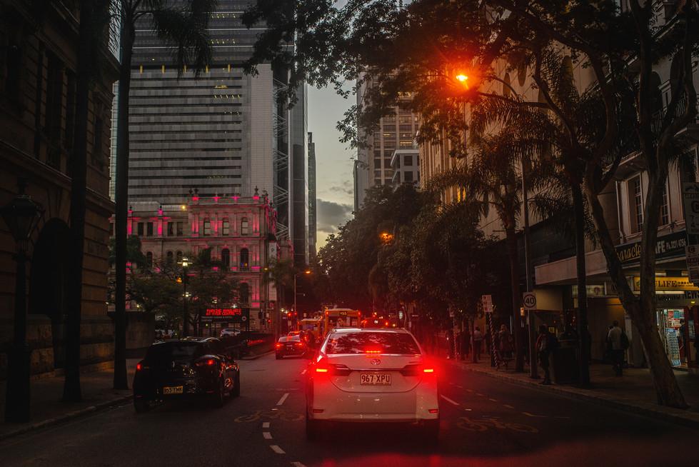 Busy night streets of Brisbane