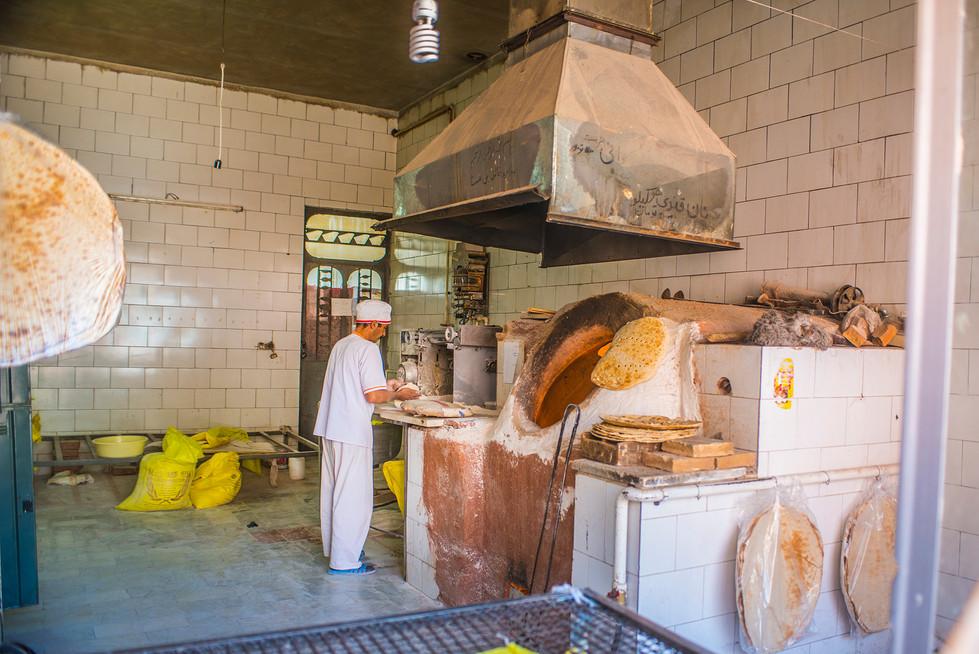 Process of making traditional Iranian bread Sangak