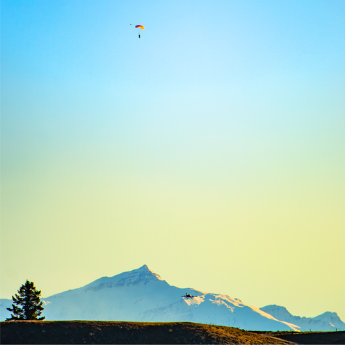Parachuting on top of mountains