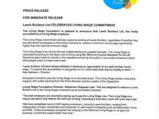 Lewis Builders celebrates Living Wage commitment