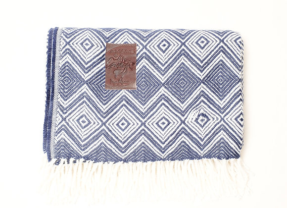 Peruvian Blanket - Dark Blue Diamonds