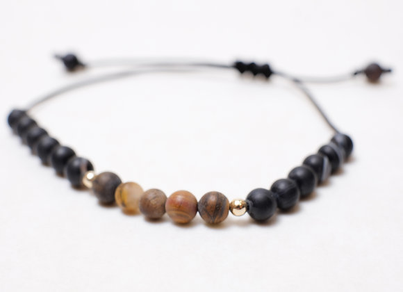 Stone Muted Brown Black Bracelet