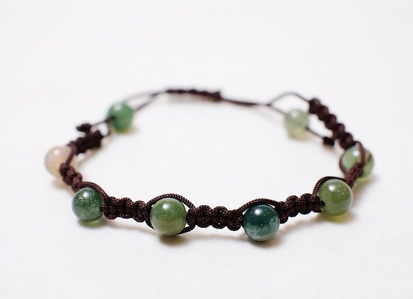 Clear Green Stone Bracelet-Brown