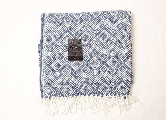 Peruvian Blanket - Cobalt Blue Checkerboard