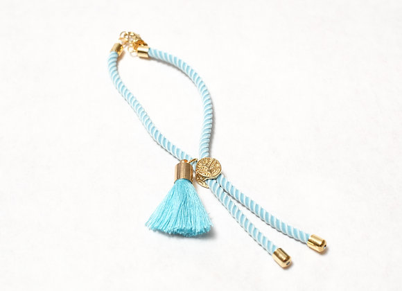 Light Blue Rope Tassel with Clasp
