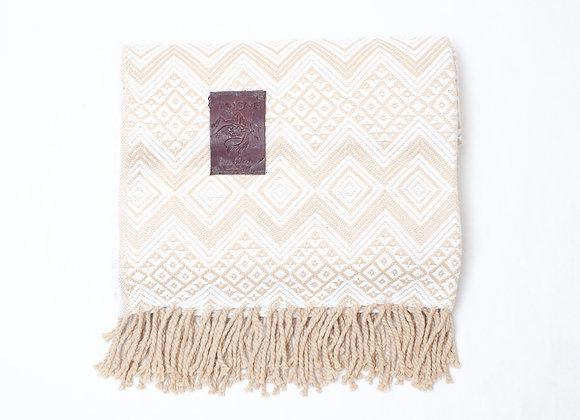 Peruvian Blanket - Brown Beige Zig Zag