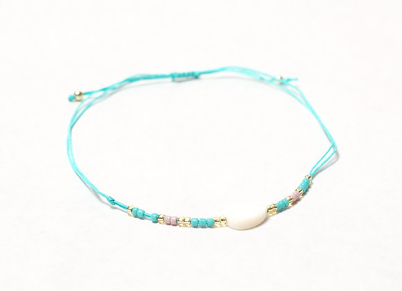 Teal String Leaf Bracelet