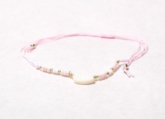 Pink String Leaf Bracelet