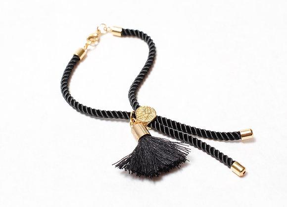 Black Rope Small Tassel Bracelet