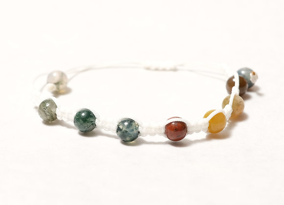Bluish Green Stone Bracelet -White