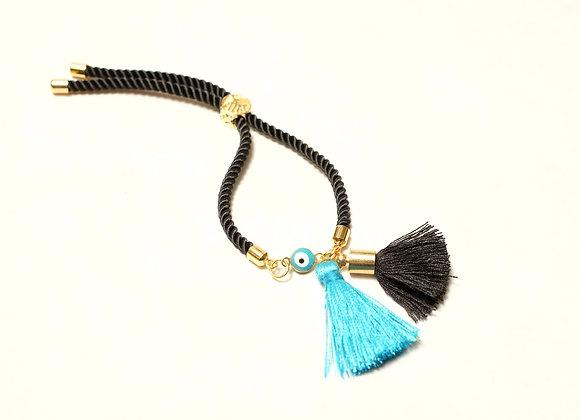 Black and Teal Rope Tassel Bracelet