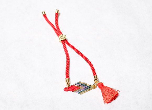 Red Tassel Bracelet with Beaded Diamond