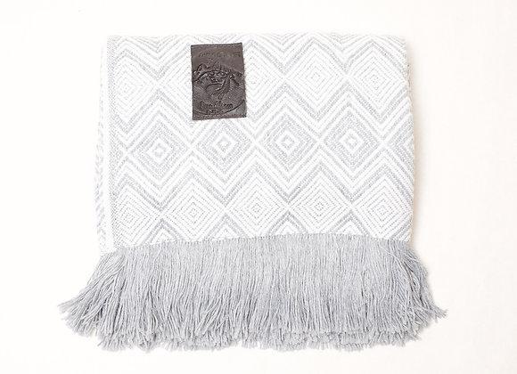 Peruvian Blanket -Grey White Double Diamond