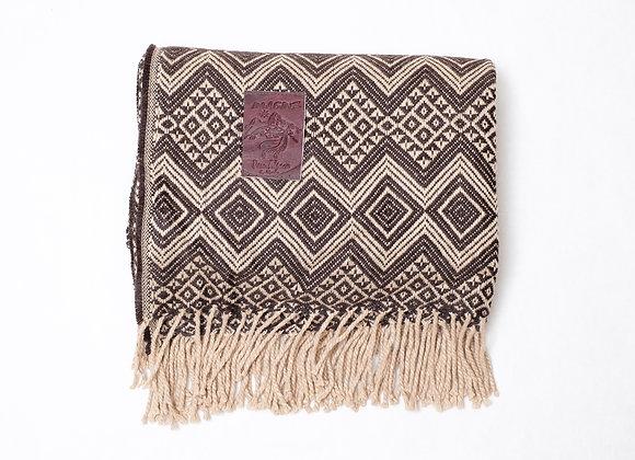 Peruvian Blanket - Light Brown Large Zig Zag