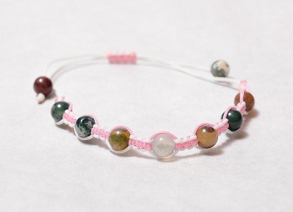 Pink Striped Beaded Bracelet