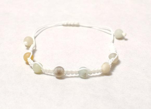Muted Earth Tone Stone Bracelet -White