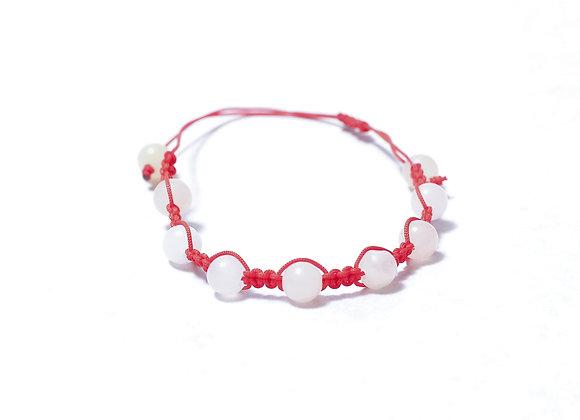 White/Red Stone Bracelet