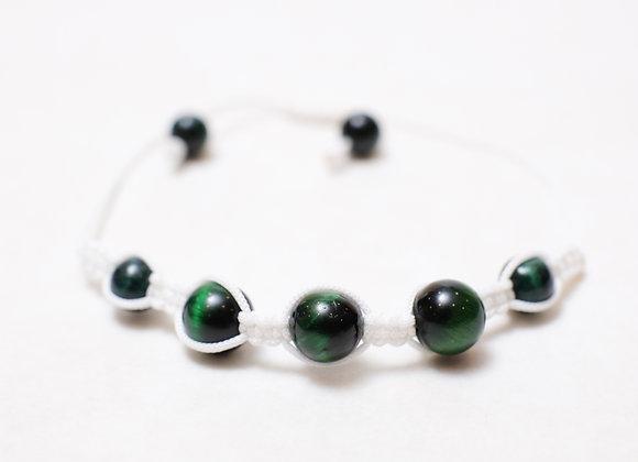 Polished Green Stone Bracelet-White