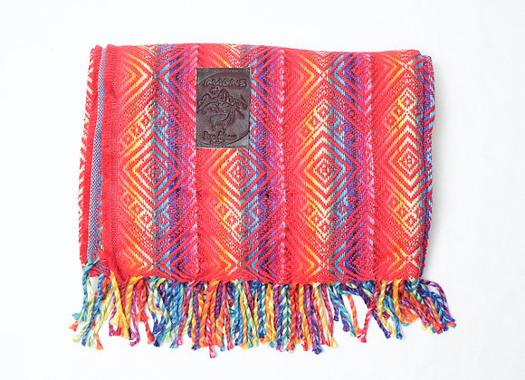Peruvian Blanket -  Red Rainbow Diamond