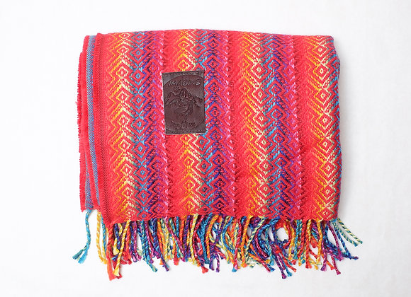 Peruvian Blanket - Red Rainbow Andean Print