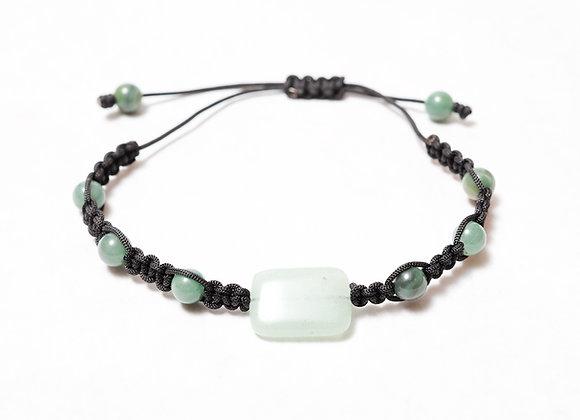 Large Green Stone Black Bracelet