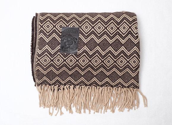 Peruvian Blanket - Brown Beige Small Zigzag
