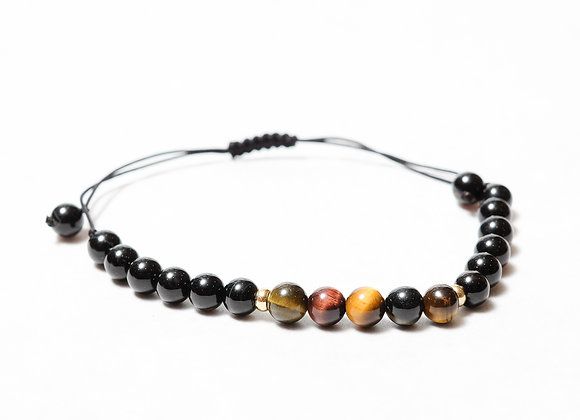 Black and Brown Stones with Gold Beads