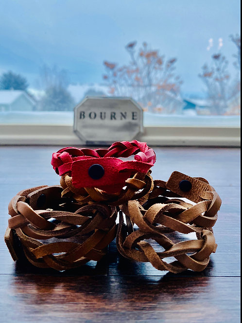 Braided Leather Button Bracelet