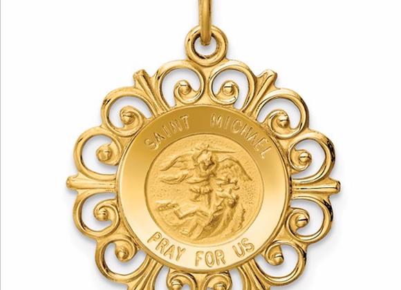 14k Saint Michael Medal Charm