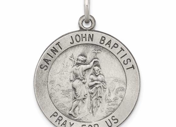 Sterling Silver Antiqued Saint John The Baptist Medal