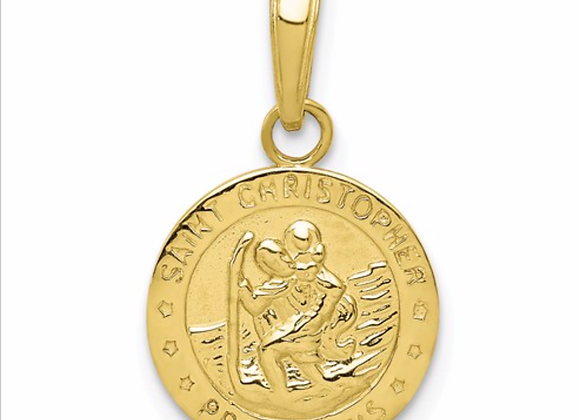 10K SAINT CHRISTOPHER MEDAL HP And SATIN With FLAT FR