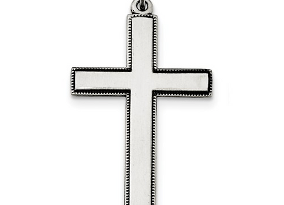 Sterling Silver Oxidized Cross With Prayer On Back Pendant