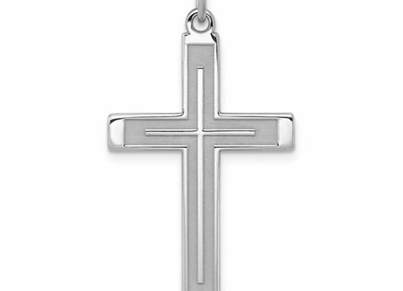 Sterling Silver Rhodium-Plated Laser Designed Cross Pendant