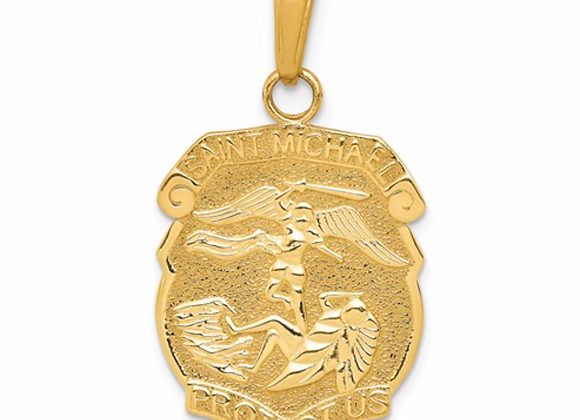 14k Saint Michael Medal Badge Pendant