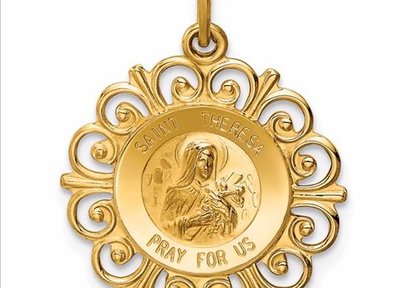 14k Saint Theresa Medal Charm