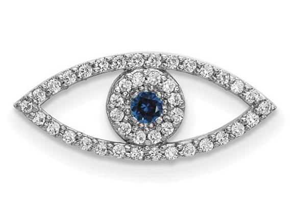 14k White Gold Small Diamond And Sapphire Evil Eye Pendant