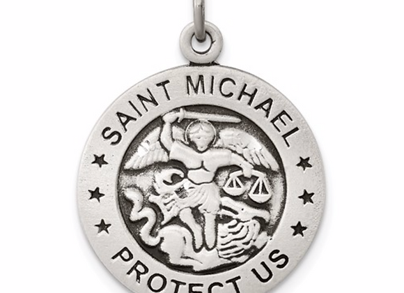 Sterling Silver St.Michael round charm