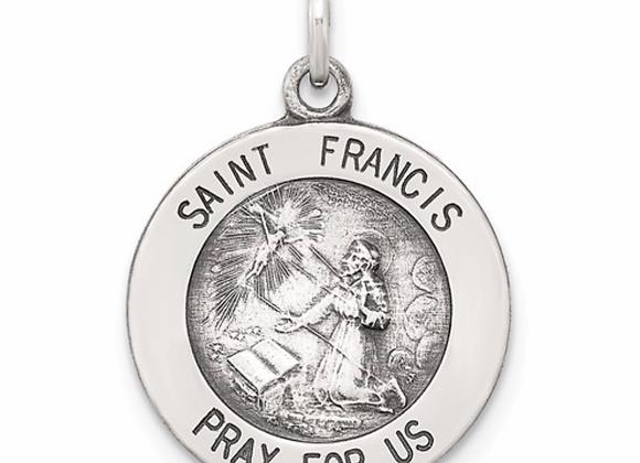 Sterling Silver Antiqued Saint Francis Medal
