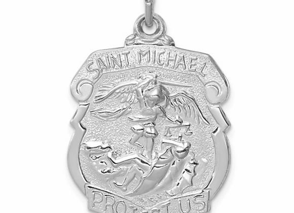Sterling Silver Saint Michael Badge Medal